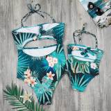 Mommy and Me Matching Swimwear Tropical Print Matching Swimsuit