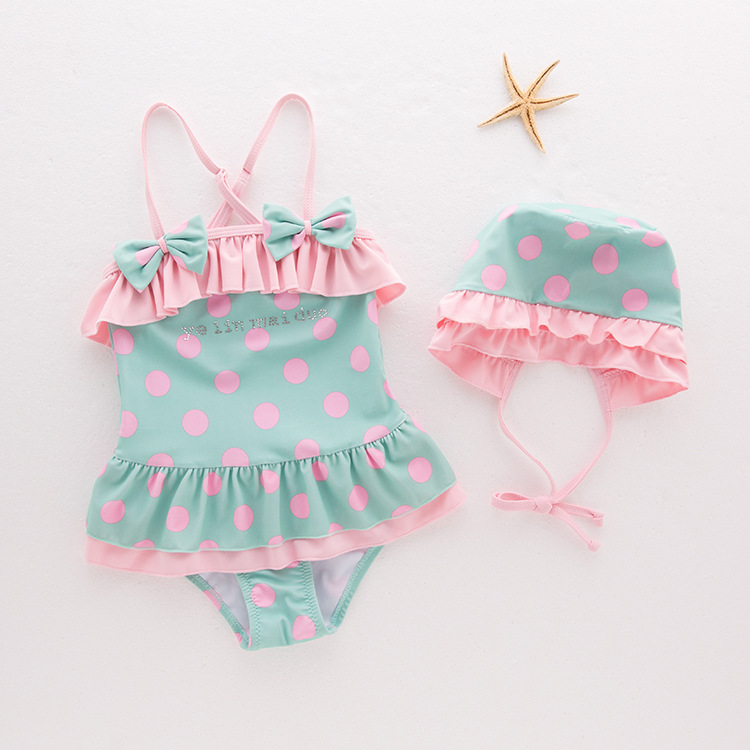 Toddler Girl Bowknot Print Pink Dots Swimsuit With Swim Cap