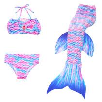 3PCS Kid Girls Gemstone Pink Mermaid Tail Bikini Swimsuit