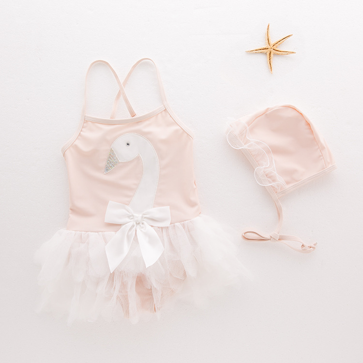 Baby Pink Swan Tutu Swimsuit With Swim Cap