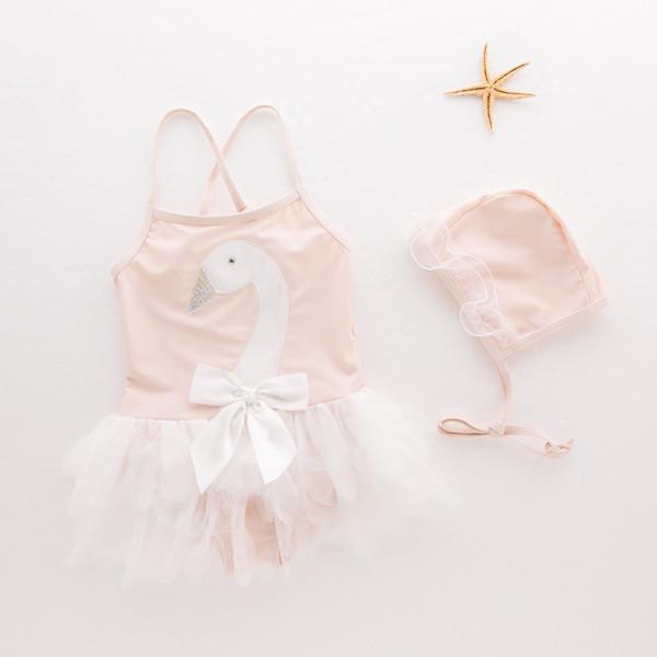 Baby Pink Swan Tutu Swimsuit With Swim Cap