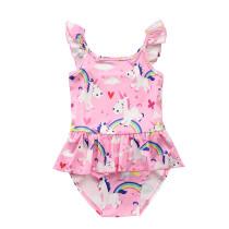 Kid Girls' Pink Ruffles Print Rainbows Unicorns One Piece Beach Swimwear