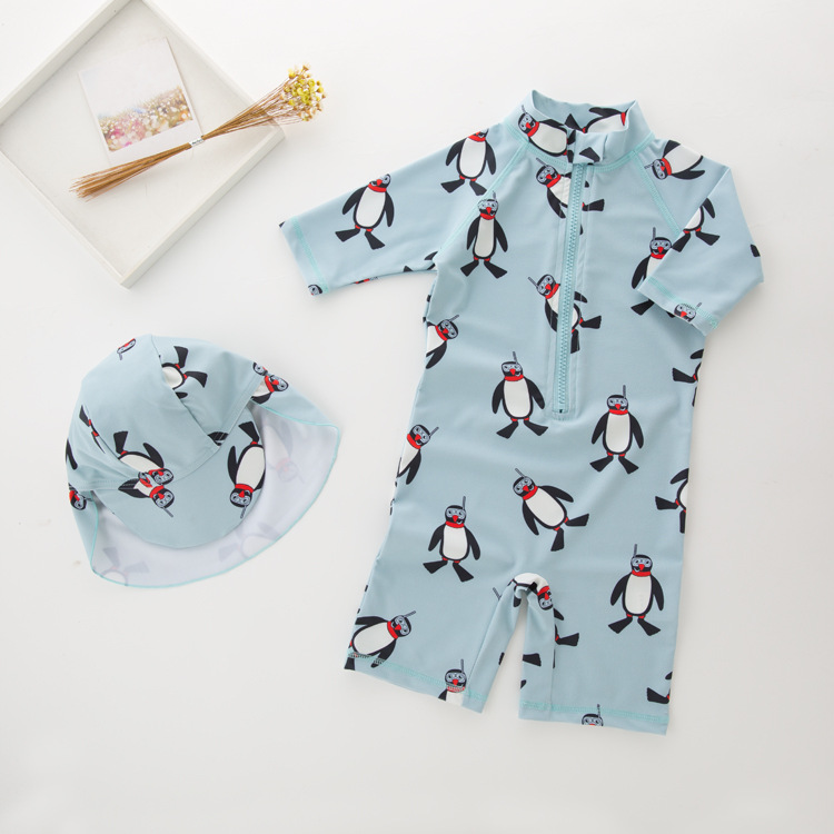 Kid Boys Print Penguin Swimsuit With Swim Cap