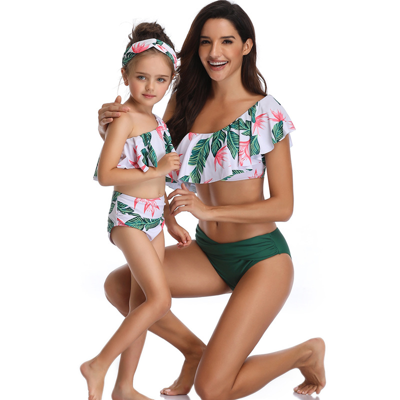 Mommy and Me Matching Swimwear Prints Flowers Leafs Rufflles One Shouldered Bikini Swimsuit