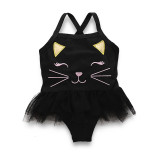 Kid Girls' Print Cat Tutu One Piece Beach Swimwear