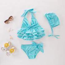 Kid Girl Rufflles Bowknot Bikinis With Swim Cap