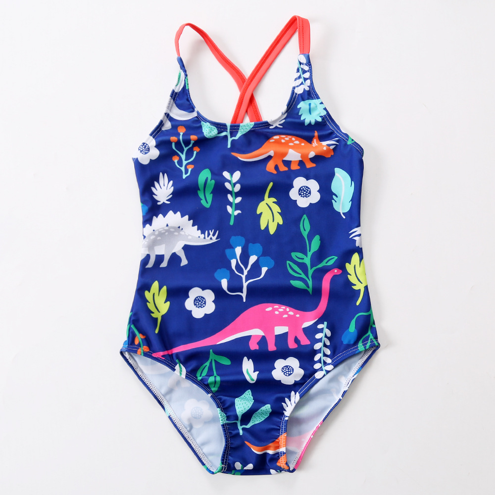 Kid Girls' Print Dinosaurs One Piece Beach Swimwear