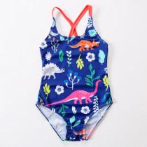 Kid Girls' Print Dinosaurs One Piece Beach Swimwear
