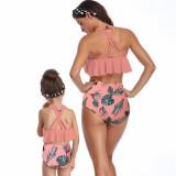 Mommy and Me Matching Swimwear Prints Leafs Rufflles Bikini Swimsuit