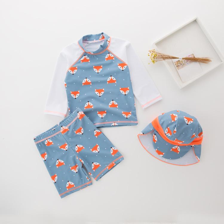 Kid Boys Print Fox Long Sleeve Top and Shorts With Swim Cap