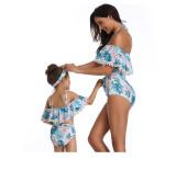 Mommy and Me Matching Swimwear Prints Flowers Rufflles Pom-pom Off Shoulder Bikini Swimsuit