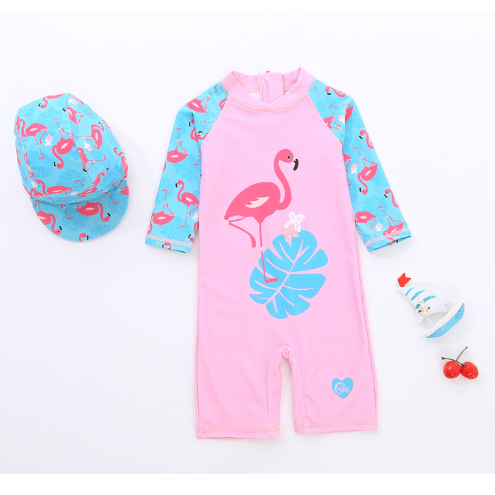 Long Sleeve Pink Flamingos Swimsuit With Swim Cap 0-6 Years