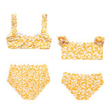 Mommy and Me Matching Swimwear Print Yellow Flowers Matching Swimsuit
