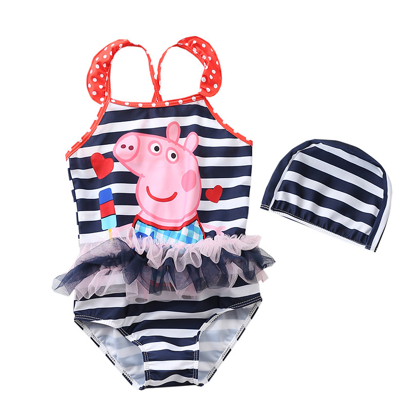 Kid Girls' Print Peppa Pigs Stripes Tutu One Piece Beach Swimwear With Swimming Cap