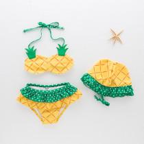 Toddler Girl Print Yellow Pineapple Bikinis With Swim Cap