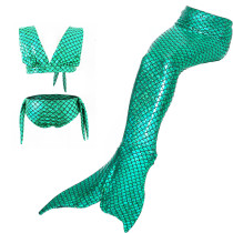 Kid Girls Bling Green Mermaid Tail Bikini Swimsuit