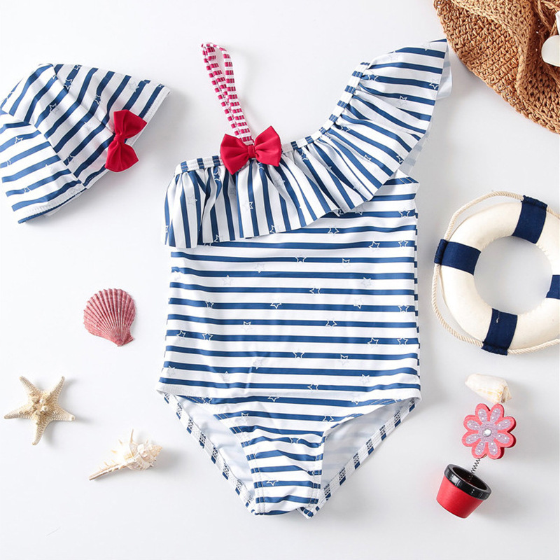 Toddler Girls' Stripes Stars One Shoulder Piece Beach Swimwear Swim Cap