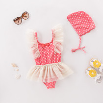 Toddler Girl Rufflles Print Dots Swimsuit With Swim Cap