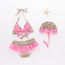 Girls' Leopard Print Rufflles Bikinis With Swim Cap