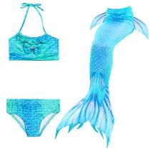 3PCS Kid Girls Bowknot Gemstone Blue Mermaid Tail Bikini Swimsuit