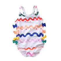 Kid Girls' Colorful Wave Print Red Dots One Piece Swimsuit Bowknot Decorated Beach Swimwear With Swimming Cap