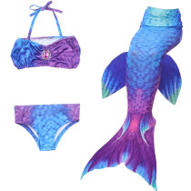 3PCS Kid Girls Gemstone Blue Mermaid Tail Bikini Swimsuit