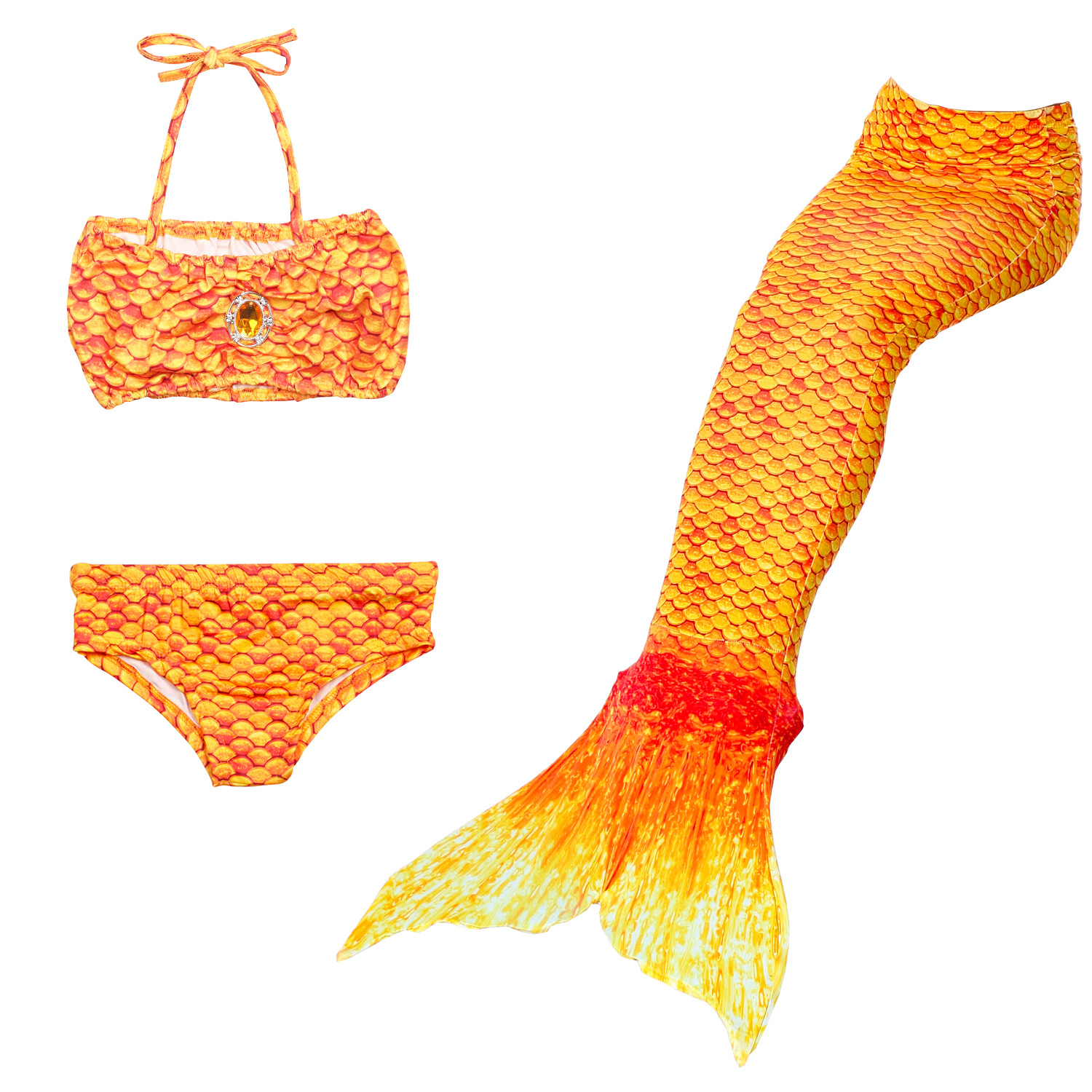 3PCS Kid Orange Colorful Girls Mermaid Tail For Fancy Princess Bikini Swimsuit