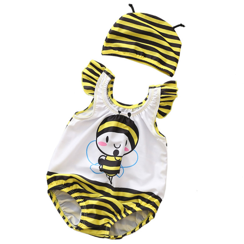 Baby 3D Cute Bee Swimsuit With Swim Cap 0-3 Years