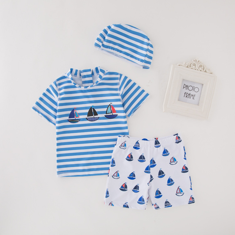 Kid Boys Blue Stripes Print Sailboat Two-pieces Swimwear With Swim Cap