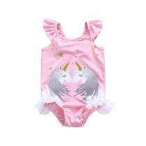 Kid Girls' Pink Ruffles Print Two Unicorns One Piece Beach Swimwear
