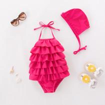Toddler Girl Pink Rufflles Swimsuit With Swim Cap