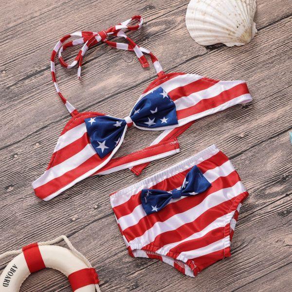 Kid Girls' USA National Flag Pattern Bikini Set Beach Swimwear 2 Pieces Swimsuit