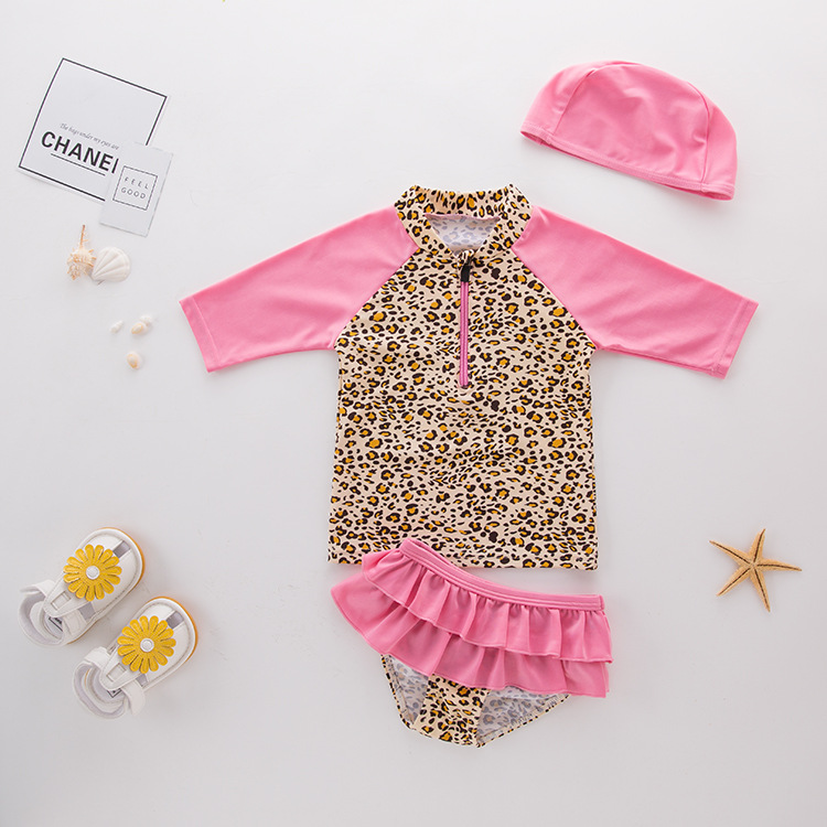 Girls' Leopard Print Long Sleeve Top and Rufflles Shorts With Swim Cap