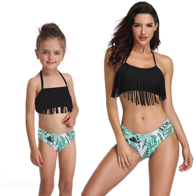 Mommy and Me Matching Swimwear Black Tassels Green Leaves Cut Out Bikini Swimsuit