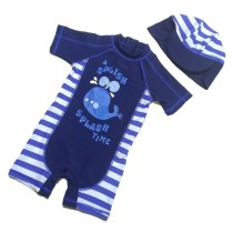 Toddler Boys Print Whale Stripes Swimsuit With Swim Cap