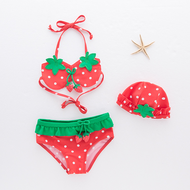 Toddler Girl Print Red Strawberry Bikinis With Swim Cap