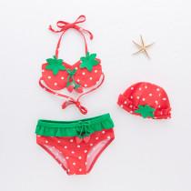 Toddler Girl Print Red Strawberry Bikinis With Swim Cap
