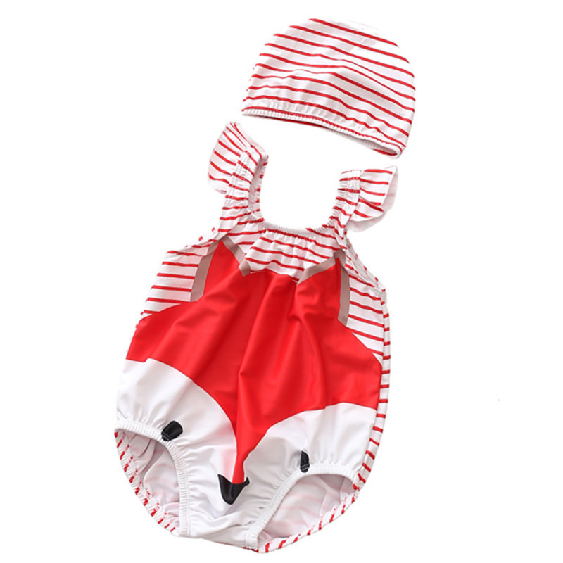 Baby 3D Cute Fox Swimsuit With Swim Cap 0-3 Years