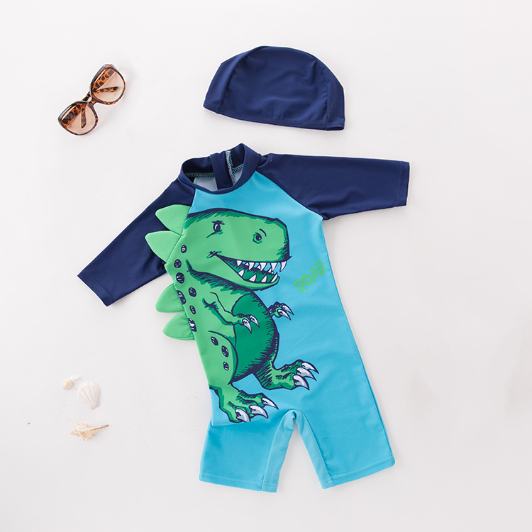 Kid Boys 3D Print Dinosaur Swimsuit With Swim Cap