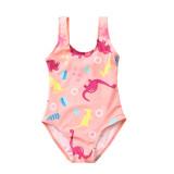 Kid Girls' Pink Print Dinosaurs  One Piece Beach Swimwear