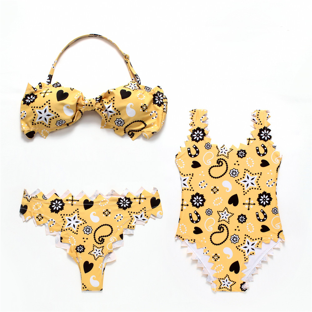 Mommy and Me Matching Swimwear Print Yellow Geometric Figure Matching Swimsuit