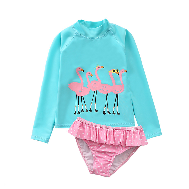 Kid Girls' Print Flamingos Swimwear Sets Long Sleeve Top and Dots Shorts