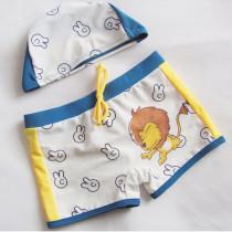 Kid Boys Print Lions  Swimwear Trunks  Swim Boxer Shorts With Swim Cap