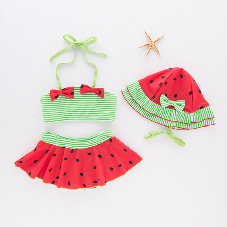 Toddler Girl Print Green Watermelon Bikinis With Swim Cap