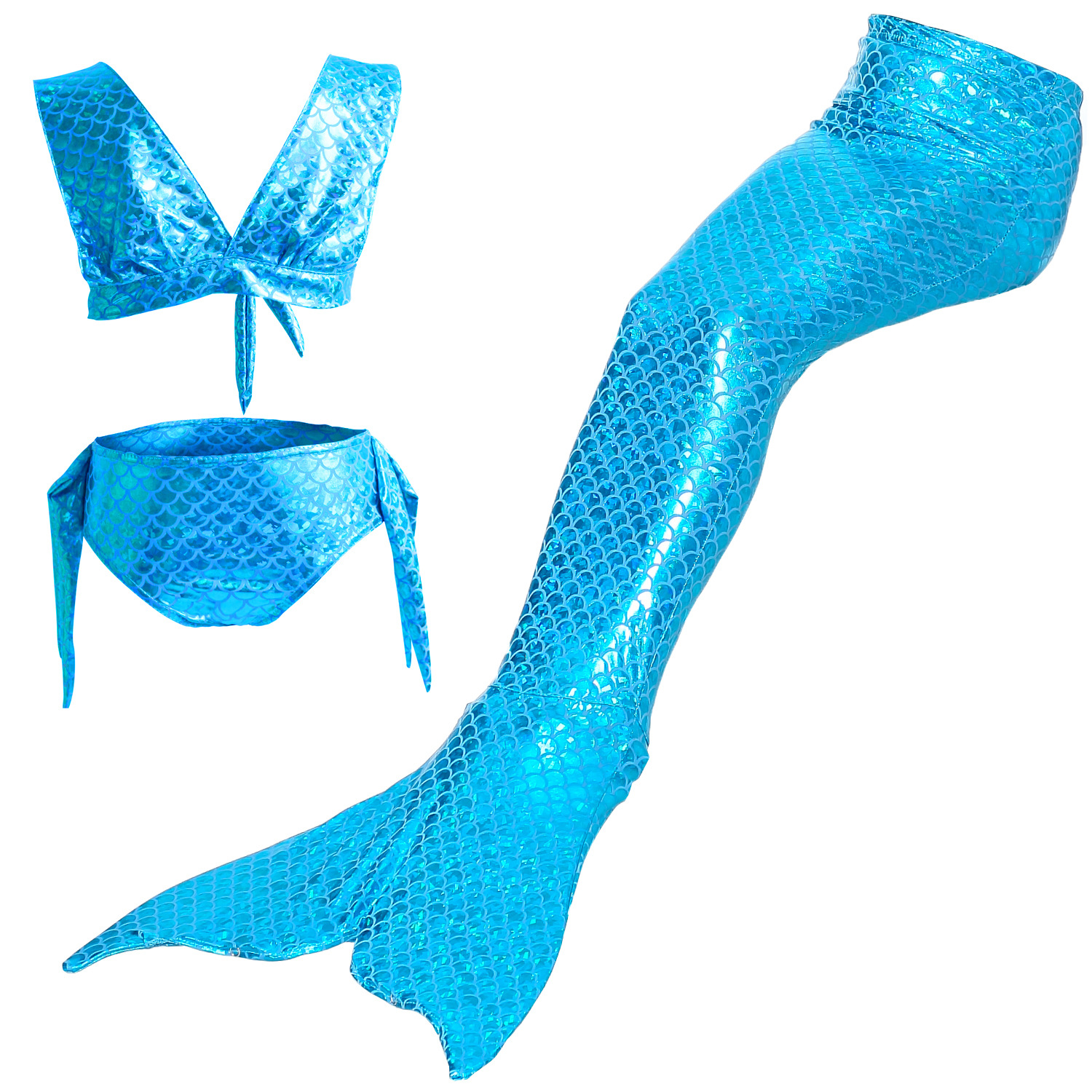 Kid Girls Bling Blue Mermaid Tail Bikini Swimsuit