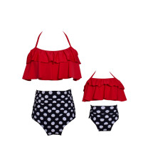 Mommy and Me Matching Swimwear Red Rufflles White Dots Bikini Swimsuit