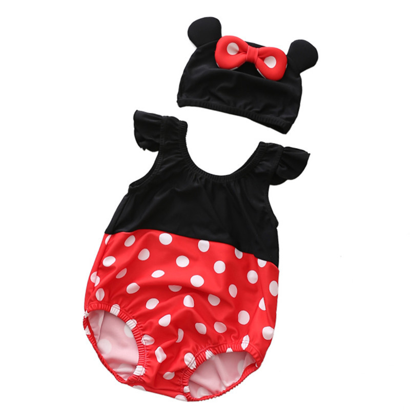 Baby 3D Cute Mini Swimsuit With Swim Cap 0-3 Years