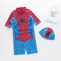 Toddler Boys Print Spider Swimsuit With Swim Cap