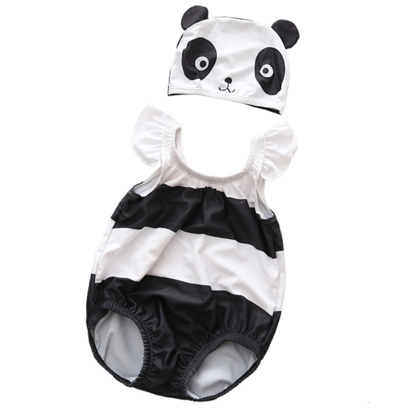 Baby 3D Cute Panda Swimsuit With Swim Cap 0-3 Years