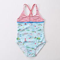 Kid Girls' Print Islands One Piece Beach Swimwear